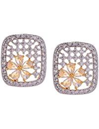 Gehnamart Yellow Gold Plated Cubic Zirconia And American Diamond Floral Designer Stud Earring - B01B4L4USG
