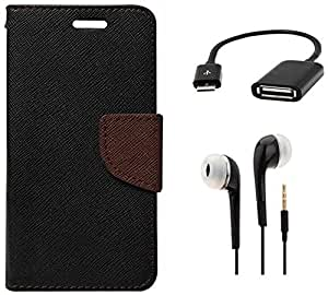 Tidel Premium Table Talk Fancy Diary Wallet Flip Cover Case for Samsung Galaxy J2 (Black) With 3.5mm Earphone & Micro OTG Cable