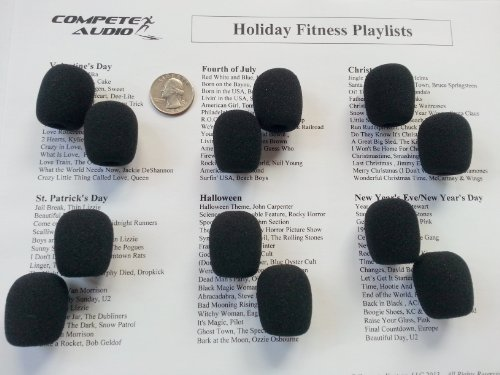 12 Microphone Windscreens Headset/Lapel (Lavalier) Fitness Leader Pack Black
