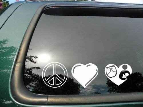 Peace Love & Cloth Diapering/Breastfeeding- Die Cut Vinyl Window Decal/Sticker for Car/Truck 3″x8″ image