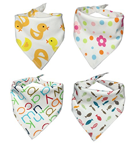 Baby Bandana Drool Bib - 4 Pack baby bibs and burp cloths with Snaps - Soft Absorbent Infant and Toddler Accessories - Perfect Baby Gift Set for Drooling,Feeding,Teething Use for Boy and Girl Use (Dundee Burp Cloth compare prices)