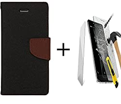 Pikimania Mercury Goospery Fancy Diary Wallet Case Cover for Microsoft Lumia 540 (Black,Brown) + Tempred