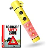 SOS - 5 in 1 Window Breaker Seatbelt Cutter Car Safety Tool with Flashlight and Emergency Flashers and an Auto Safety Guide (Yellow)