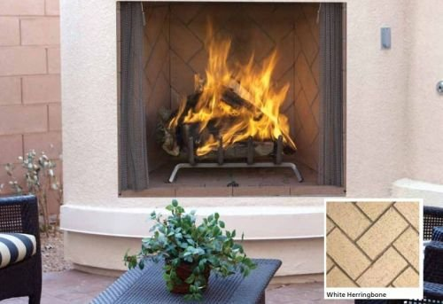 "50"" Masonry Outdoor Wood Fireplace, Ivory Herringbone Brick"