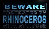 ADV PRO m526-b Beware Rhinoceros Neon Light Sign