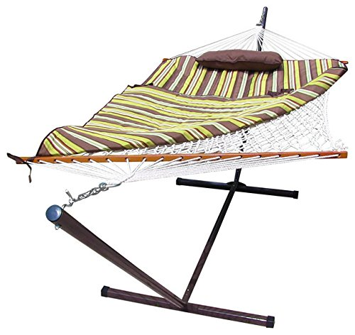 Sunnydaze Desert Stripe Rope Hammock Combo with Stand, Pad and Pillow