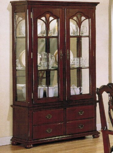Cheap Curio China Cabinet with Glass Doors Cherry Finish (VF_AZ00-39541×21589)
