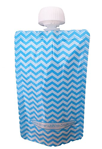 Reusable Baby Food Pouch - 5 Pack Blue Chevron - 5 oz size by Nourish with Style