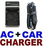Wall AC Plug + Car Charger for Canon BP-511 Battery - PowerShot G1, G2, G3, G5, G6
