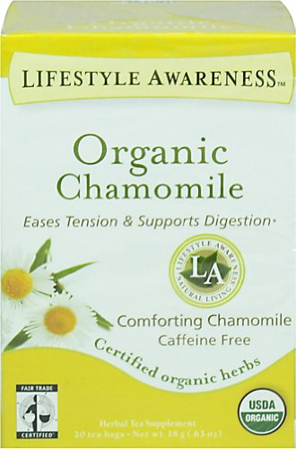 Organic Chamomile Eases Tension & Supports Digestion Herbal Tea Supplement 20 Tea Bags