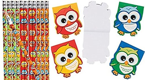 24 Pc Owl party favors set - Owl pencils and notepads
