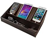 """Faux Leather Charging Station (Brown) (11.5""""H x 7.25""""W x 4.75""""D)"""