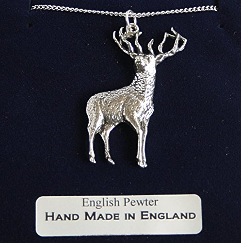 Stag Pendant Necklace In Fine English Pewter (Gift Boxed)