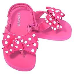 L\'Amour Toddler Girls 6 Fuchsia Polka Dot Bow Wedge Flip Flops Sandals
