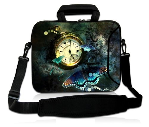 "17"" 17.3"" 17.4"" Inch Clock Butterfly Design Neoprene Notebook Laptop Soft Bag Sleeve Case Cover Pouch With Adjustable Shoulder Strap For Apple Macbook Pro 17 /Hp Envy 17 Series/ Pavilion Dv7/Dv7T/G72/G72T/G7T/M7 Series / Dell Inspiron 17 17R I17Rm I17Rv X front-266796"