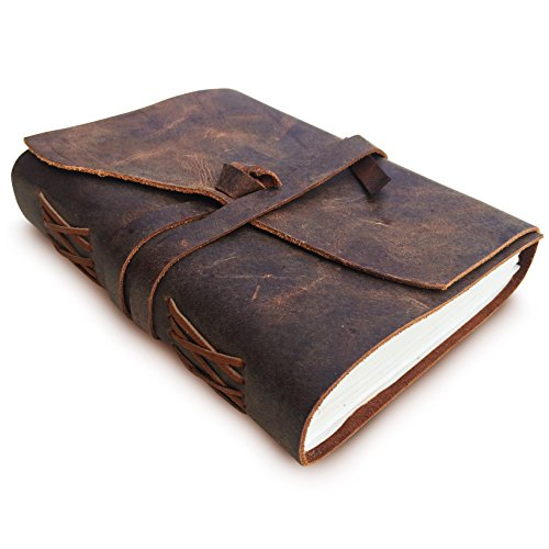 Leather Journal Travel Diary Writing Notebook, Antique Handmade Leather Bound Daily Notepad For Men & Women, Unlined Paper 7 x 5 Inches, Perfect Gift for Art Sketchbook & Notebooks to Write in