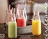 Circleware Country Antique, Set of 13, Glass Milk Drink Bottles with Strong Straws and Wooden Tray, 15 Ounce, 6 Glass Bottles, 6 Straws 1 Wooden Tray, Limited Edition Glassware Drinkware