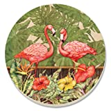 CounterArt Tropical Flamingos Absorbent Coasters, Set Of 4
