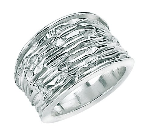 Round Crinkle Ring in Silver