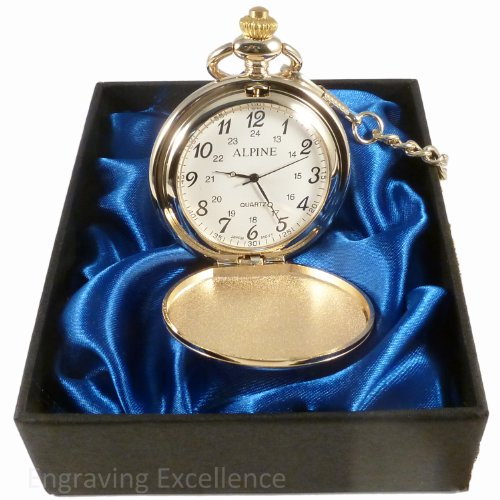 Personalised Engraved Gold Pocket Watch in Blue Satin Lined Presentation Box