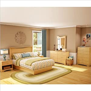 South Shore Copley Wood Panel Headboard 4 Piece Bedroom Set In N