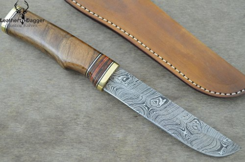 Leather-N-Dagger | Professional High Quality Custom Handmade Damascus Steel Hunting Knife Exotic Walnut Wood (100% Satisfaction Guaranteed) Great Gift Ld174