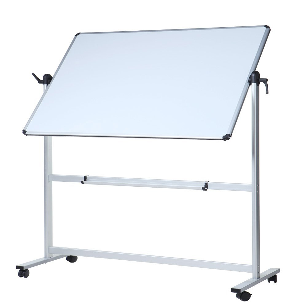 VIZ-PRO Double-sided Magnetic Mobile Whiteboard, 60 x 36 Inches, Aluminium Frame and Stand