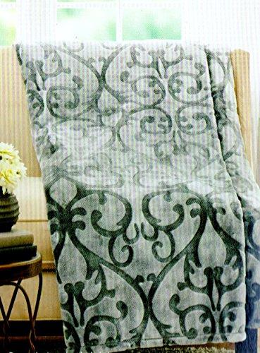 Gray Scroll Damask Velvet Plush Throw Blanket