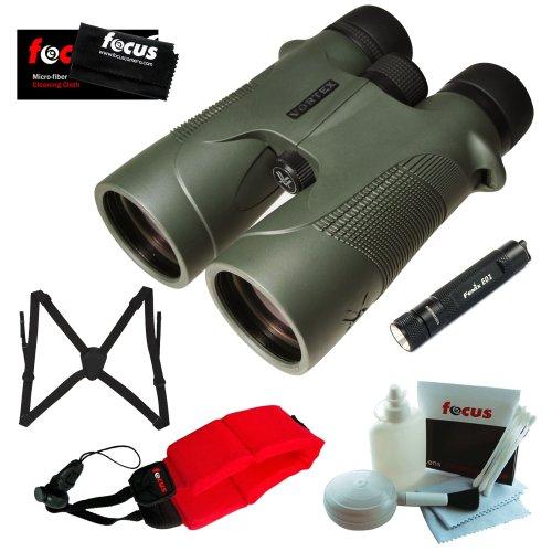 Vortex Optics D5010 10X 50Mm Diamondback Binocular With Keychain Led Flashlight, Binocular Harness, Red Foam Strap And Cleaning And Care Kit Accessory