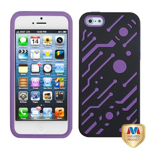 Cell Accessories For Less (Tm) Apple Iphone 5S/5 Hard Black/Electric Purple Circuitboard Hybrid Case Cover + Bundle (Stylus & Micro Cleaning Cloth) - By Thetargetbuys