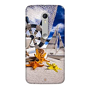 PrintHaat Designer Back Case Cover for Motorola Moto X Style :: Moto X Pure Edition (miniature of a yacht, building and star fishes taking rest :: funny :: in yellow, blue orange and black)