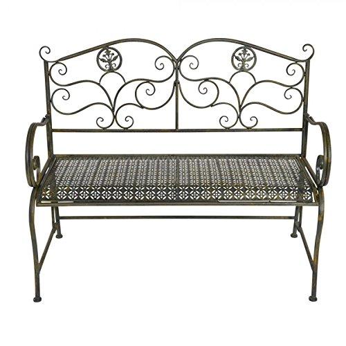 Gartenbank 110x52x91cm Metall bronze/grün Armlehnen Bank Sitzbank Gartenmöbel jetzt bestellen