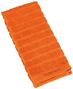 Cuisinart 100% Cotton Terry Super Absorbent Kitchen Towel, Sculpted Subway Tile, Orange