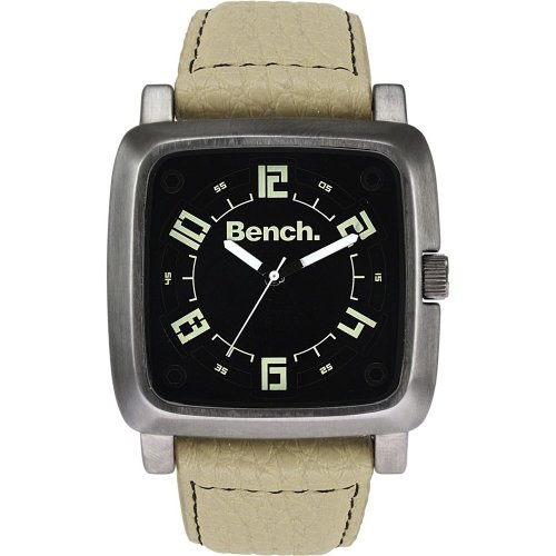 Bench Men's Quartz Strap Watch with Black Dial Analogue Display and Beige Plastic or Pu Band Bc0400Bkbg