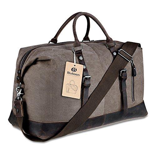Borsone da Viaggio per Sport di tela e pelle Borsa Weekend Bag Uomo/Donna Vintage (Caffè)