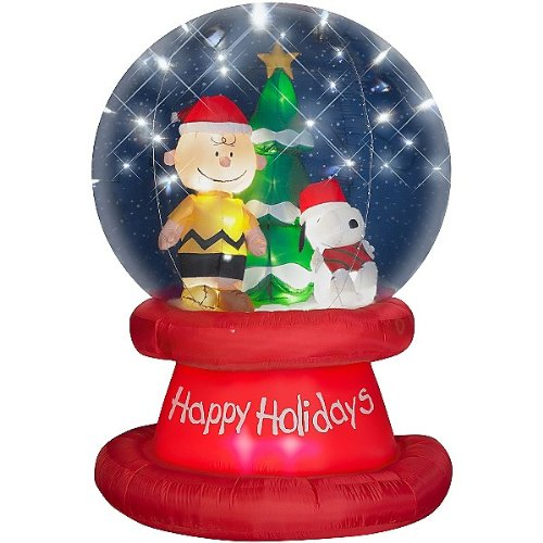 6' Peanuts Snoopy Christmas Airblown Inflatable Happy Holidays Globe with LED Lights Charlie Brown Gemmy