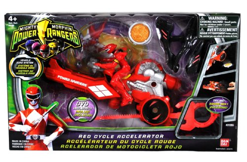 Bandai Power Rangers Mighty Morphin 3-1/2 Inch Tall Action Figure with Vehicle Zord Set - RED CYCLE ACCELERATOR with Red Power Ranger, Collectible Ape Power Coin, Dino Spinner and Ripcord Sword Plus Bonus DVD (Power Ranger Power Coins compare prices)