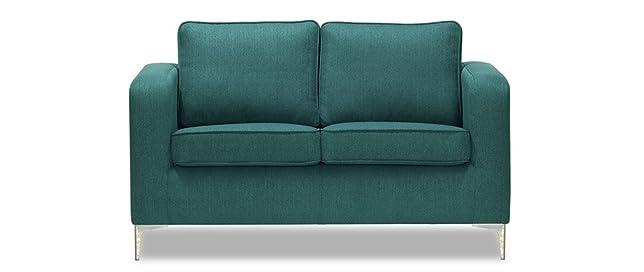 Miliboo - Divano di design a 2 posti, colore: Blu anatra, modello: HARRY