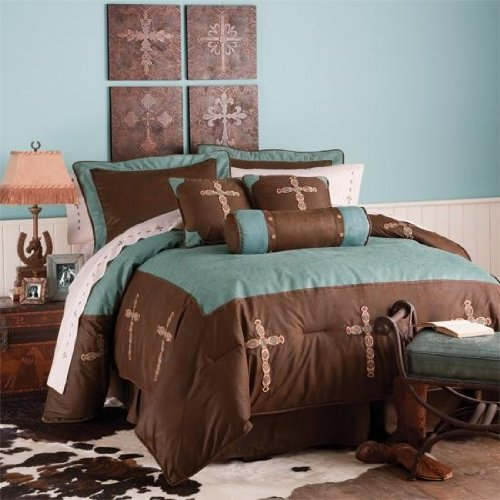 Western Decor Turquoise Cross Bedding Set Super King