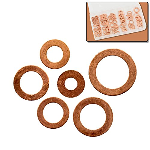 110pc Copper Washer Assortment Set - 6 Sizes - Automotive & Household Electrical Connections (Brass Washers For Jewelry compare prices)