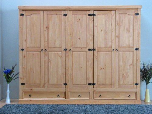 5trg-Kiefer-Mexico-Kleiderschrank-New-Mexiko-massiv-Schlafzimmer-Schrank-natur