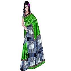 Pawan Tex Synthetic Bhagalpuri Saree (saree95_Light Green White)