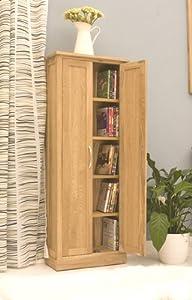 Cheap  Tall Dvd Cd Storage Cupboard Mobel Solid Premier Oak