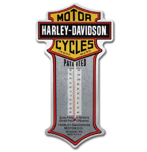 Harley-Davidson® Patent Bar & Shield Tin Thermometer. HDL-10095