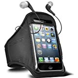 Fone-Case Samsung Galaxy Y S5360 Adjustable Sports Fitness Jogging Arm Band Case & 3.5mm In Ear Earbud Base Earphones (Black)