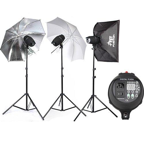 BPS Professional 3x300w digital display Lighting Photography Studio Strobe Flash Light Kit-Photographic Lighting- Fan Cooled Light Set + Free Carry bag