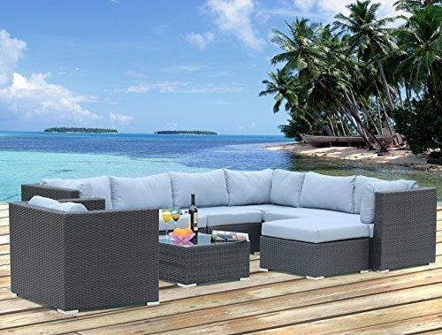 Polyrattan Lounge Sitzgruppe Gartenmöbel Garnitur Poly Rattan 7 Sitzplätze kaufen