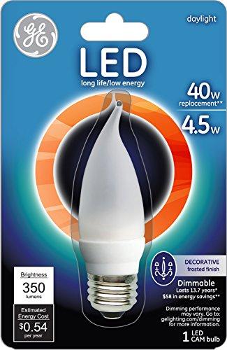 Ge Lighting 23706 Led 4.5 Watt, 350-Lumen Bent Tip Bulb With Medium Base, Frosted, 1-Pack