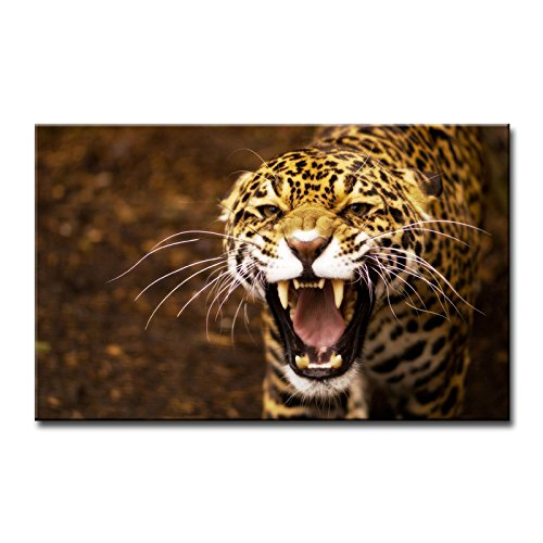 Brown Wall Art Painting Angry Jaguar Pictures Prints On Canvas Animal The Picture Decor Oil For Home Modern Decoration Print