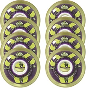 HYPER Inline Skate Wheels 72mm 74a TRINITY ROLLER HOCKEY x8 Purple Yellow by Hyber Wheels